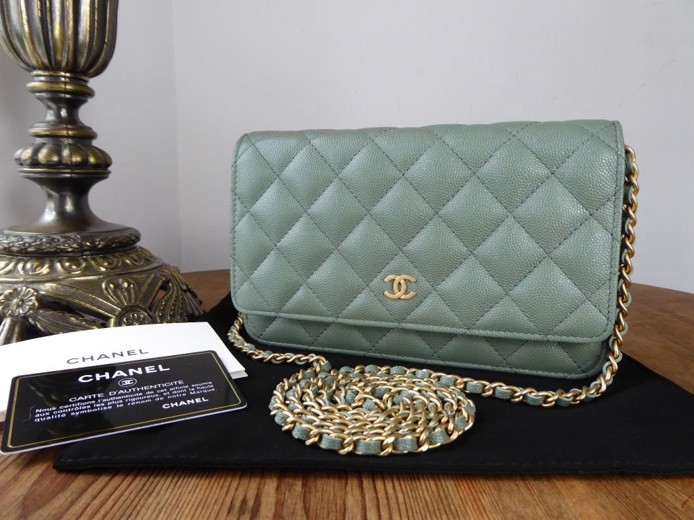 Chanel Classic Wallet on Chain WoC in Iridescent Khaki Caviar Leather - As