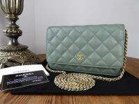 Chanel Classic Wallet on Chain WoC in Iridescent Khaki Caviar Leather - As New