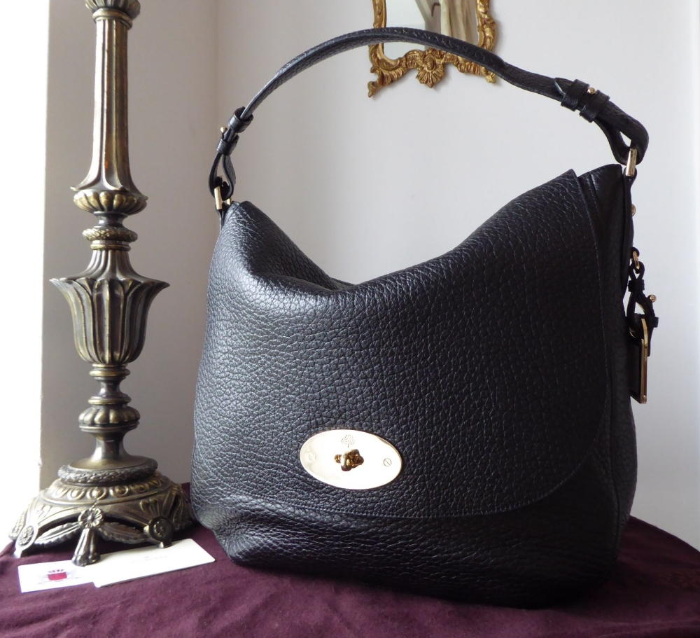 Mulberry Postmans Lock Hobo in Black Soft Large Grain Leather