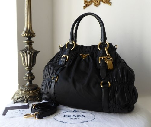 907bd35625a5b0 real prada bn1792 black vela nylon tessuto gaufre open top tote 31026 871e5  848ca; amazon prada large bauletto hobo in nero tessuto nappa gaufre sold  6cdbb ...