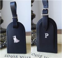 Louis Vuitton Black Leather Luggage Tag Heat Stamped Year of the Dog Initialled P - New* - SOLD