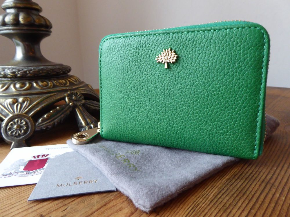 Mulberry Compact Zip Around Purse Wallet in Jungle Green Small Classic Grai