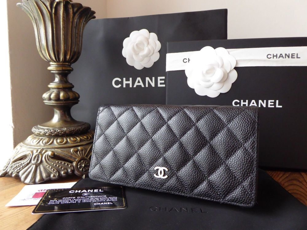 Chanel Classic Continental Purse Wallet in Black Caviar with Shiny Silver H