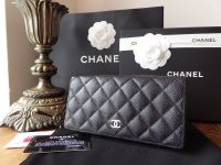 Chanel Classic Continental Yen Wallet in Black Caviar with Shiny Silver Hardware