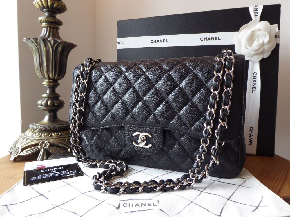 Chanel Classic Jumbo Flap in Black Caviar Leather with Shiny Silver Hardwar