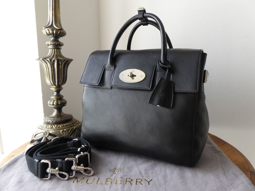 Mulberry Cara Medium Backpack in Black Natural Leather with Silver Nickel H