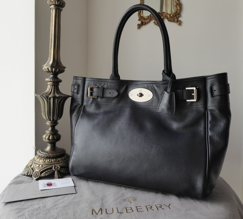 Mulberry Classic Bayswater Tote in Midnight Blue Glossy Goat with Silver Ni