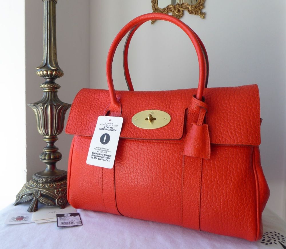 Mulberry Classic Bayswater in Flame Shiny Grain Leather & Felt Liner - New*