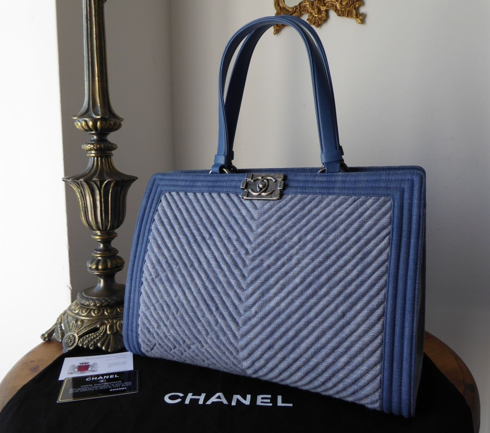 86d44399f025 Chanel Chevron Quilted Large Boy Shopping Tote in Light Blue Denim
