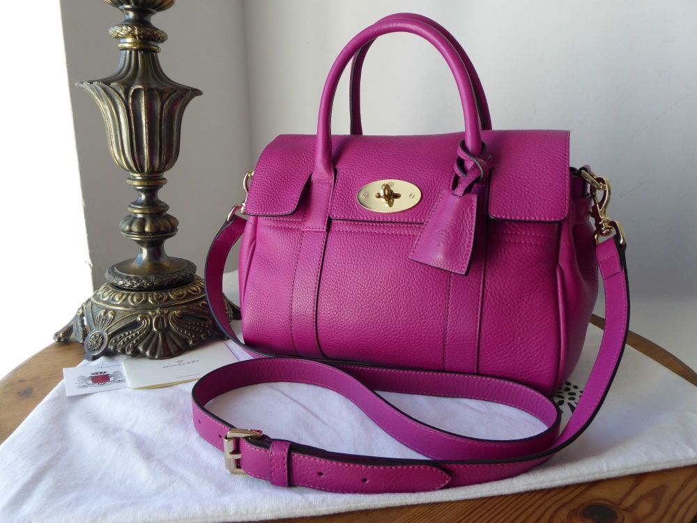 Mulberry Classic Small Bayswater Satchel in Hot Fuschia Spongy Pebbled Leat