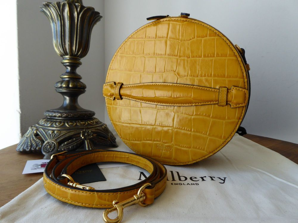 Mulberry Trunk Bag in Gold Ochre Croc Embossed Leather - As New*
