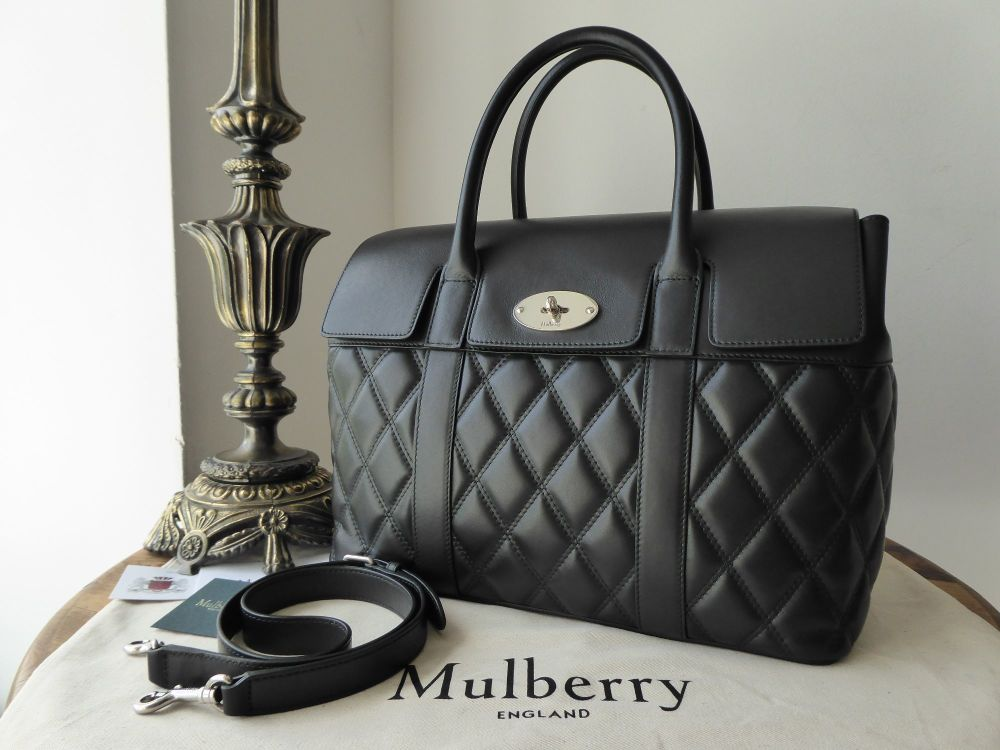 Mulberry Large Quilted Bayswater with Strap in Black Smooth Calf