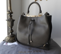 Mulberry Large Kensington Drawstring Satchel in Mole Grey Small Classic Grain -  As New - SOLD