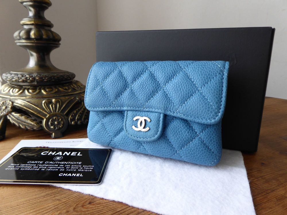 Chanel Small Dual Sided Card & Coin Purse in Blue Caviar with Silver Hardwa
