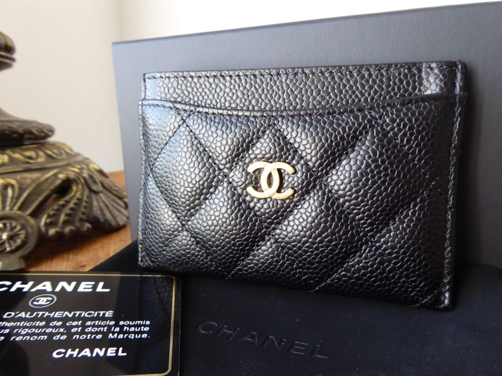 Chanel Classic Credit Card Slip Case Holder in Quilted Black Caviar with Go