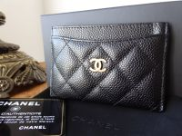 Chanel Classic Credit Card Slip Case Holder in Quilted Black Caviar with Gold Hardware - SOLD