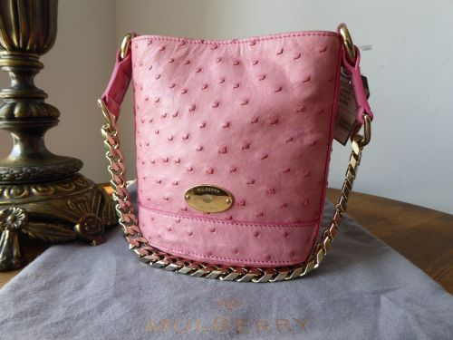Mulberry Mini Jamie Bucket Bag in Sugar Pink Ostrich Leather - As New  4deb676b246c8