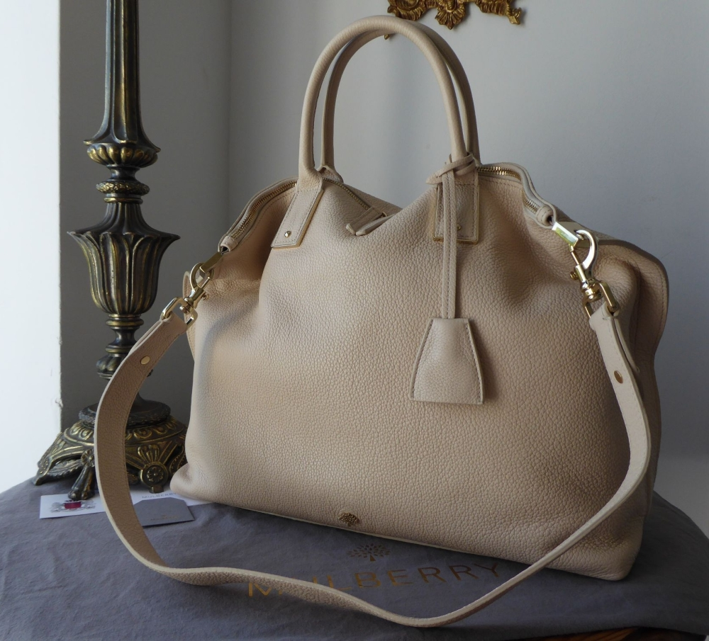 Mulberry Large Alice Zipped Tote in Buttercream Small Classic Grain - New