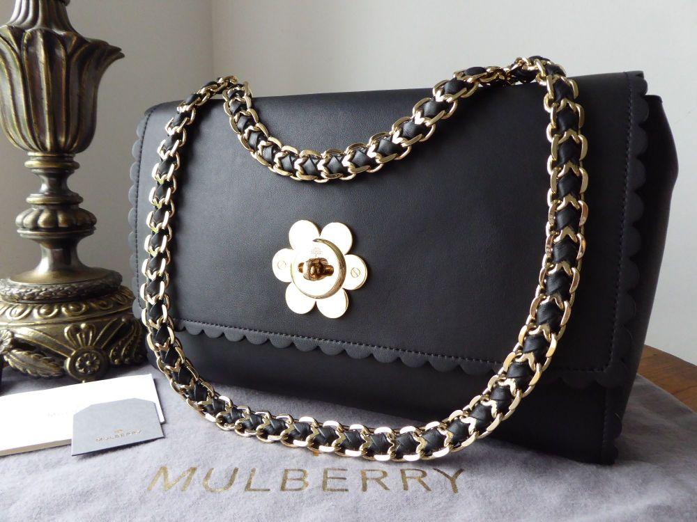 Mulberry Medium Cecily Flower in Black Classic Calf