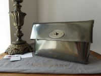 Mulberry Clemmie Clutch in Silver Mirror Metallic Leather