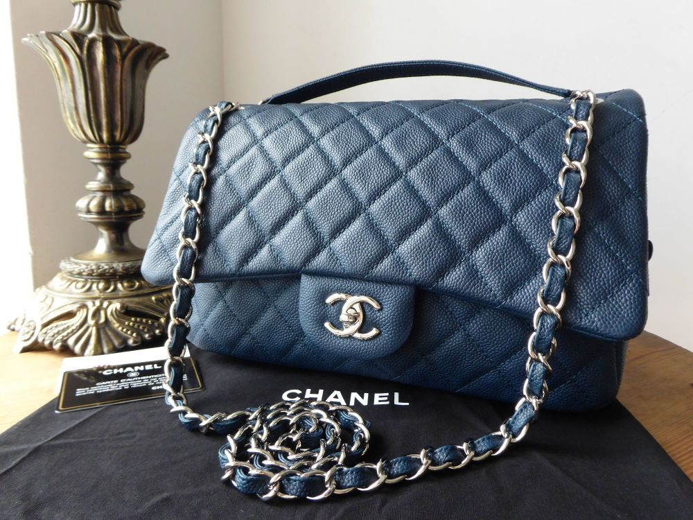 3d254132feb6 Chanel Casual Journey Large Easy Flap Bag in Dark Blue Teal Caviar with Sil