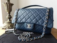 Chanel Casual Journey Jumbo Easy Flap Bag in Dark Blue Teal Caviar with Silver Hardware - SOLD