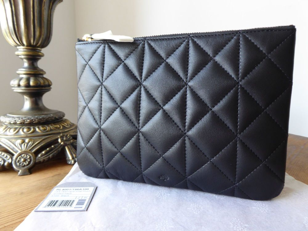 Mulberry Cara Delevingne Small Pouch in Black Quilted Nappa  - New