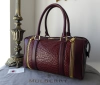 Mulberry Tasha Boston Bag in Oxblood Shrunken Calf Leather