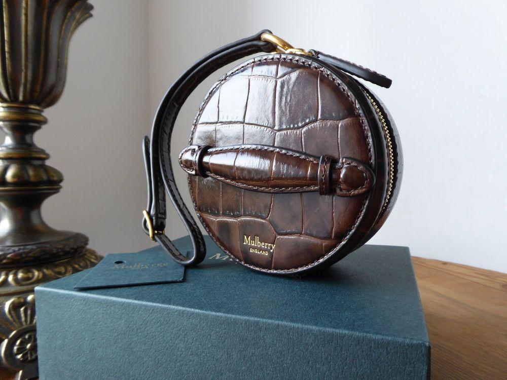 Mulberry Mini Trunk Wristlet in Dark Brown Crocodile Embossed Leather - New