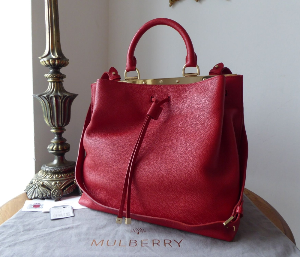 Mulberry Large Kensington Drawstring Satchel in Poppy Small Classic Grain