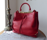 Mulberry Large Kensington Drawstring Satchel in Poppy Small Classic Grain - As New*