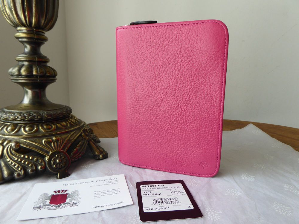 Mulberry Tudor Zip Around Small Notebook Folio in Hot Pink Soft Spongy Leat