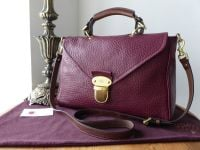 Mulberry Large Polly Push Lock Satchel in Conker Shiny Grain Leather