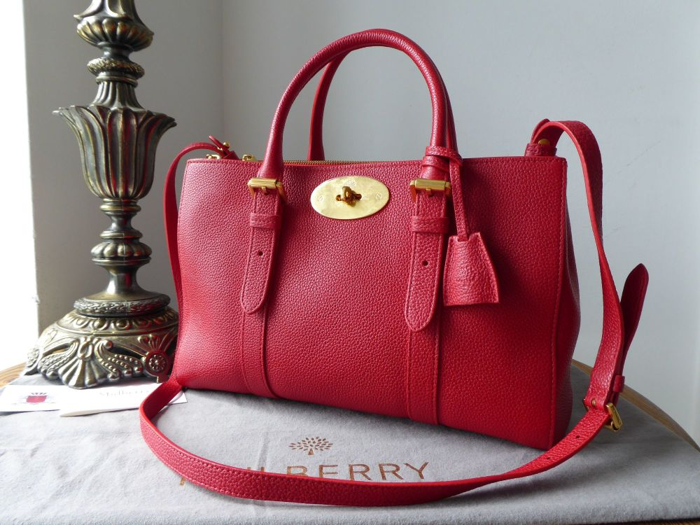 Mulberry Small Double Zip Bayswater Tote in Bright Red Small Classic Grain