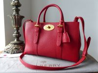 Mulberry Small Double Zip Bayswater Tote in Bright Red Small Classic Grain Leather - SOLD