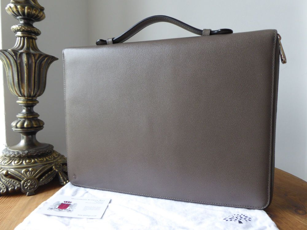Mulberry Large Zip Around Document Folio in Grey Chester Goatskin Leather