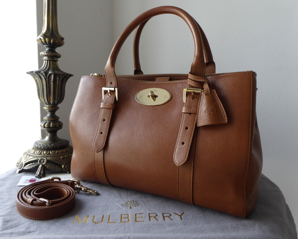 Mulberry Large Double Zip Bayswater Tote in Oak Natural Leather