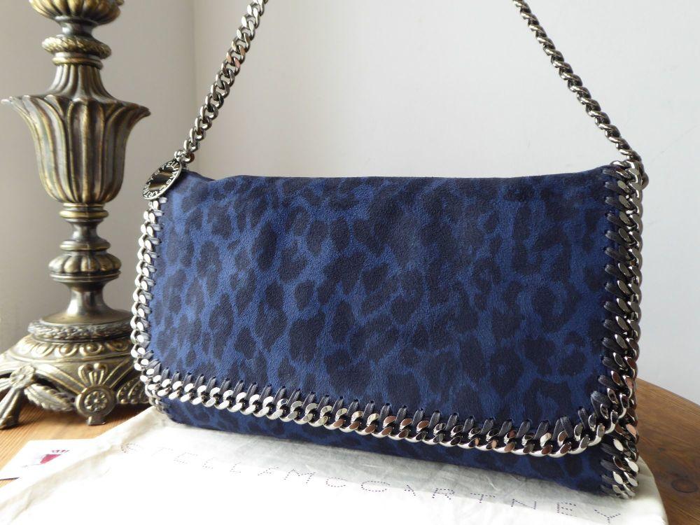Stella McCartney Falabella Shoulder Clutch in Midnight Blue Leopard Print F