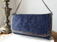 Stella McCartney Falabella Shoulder Clutch in Midnight Blue Leopard Print Faux Shaggy Deer - SOLD