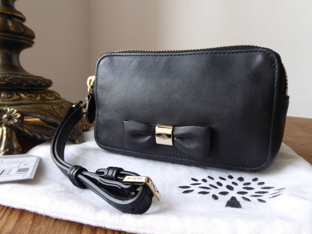 Mulberry Bow Wristlet Double Zip Pouch in Black Silky Classic Calf