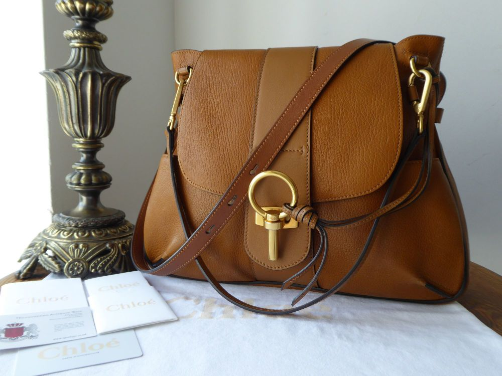 Chloe Lexa Cross Body Satchel in Mustard Brown