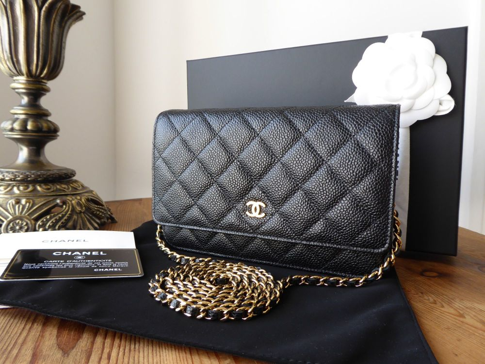 7a2c4e62e266 Chanel WOC Wallet on Chain in Black Caviar Leather with Shiny Gold Hardware