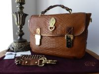 Mulberry Tillie Chain Satchel in Oak Silky Snake with Bronze Metallic Trims
