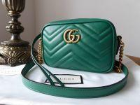 Gucci GG Marmont Matelassé Camera Bag in Emerald Green Calfskin - SOLD