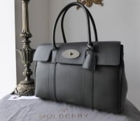 Mulberry Classic Heritage Bayswater in Graphite Pebbled Leather with Shiny Silver Hardware - New*