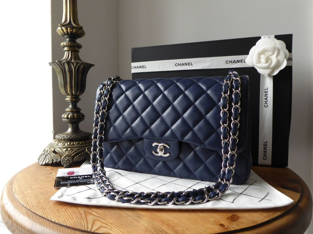 3aafbdc54766 Chanel Timeless Classic 2.55 Jumbo Flap Bag in Navy Caviar with Shiny Shiny