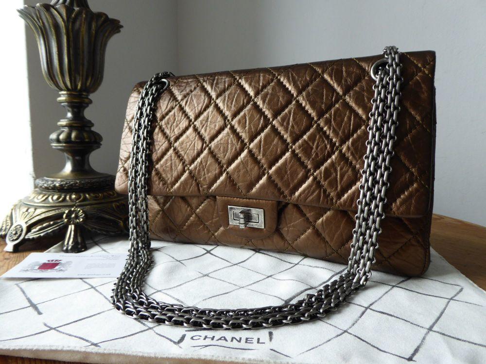 Chanel 226 Reissue Mademoiselle Flap in Metallic Bronze Calfskin with Antiq