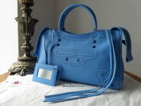 Balenciaga Blackout Small City in Bright Blue Calfskin