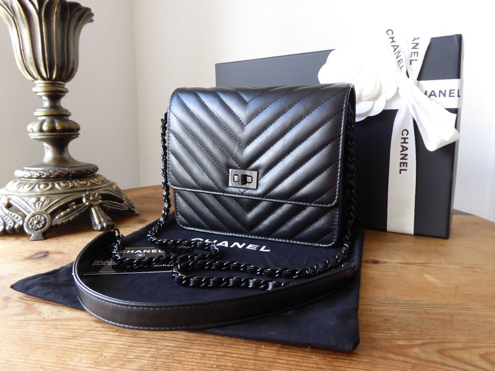 Chanel Square Wallet on Chain Reissue 2.55 'So Black' Chevron Quilted Calfs