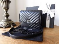 Chanel Square Wallet on Chain Reissue 2.55 'So Black' Chevron Quilted Calfskin - SOLD